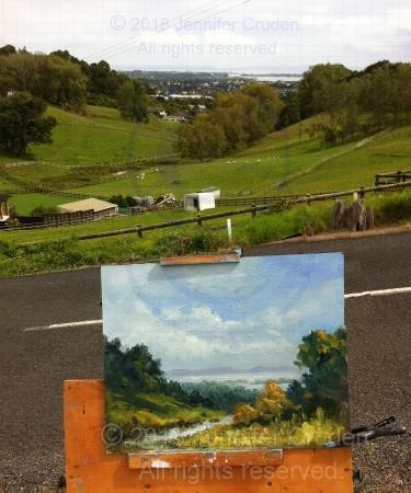 oil painting en plein air Red Hill