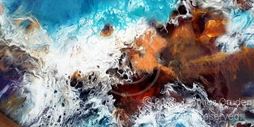 macro of water rocks resin painting